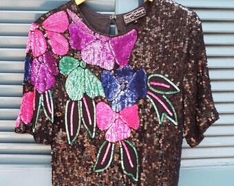 Vintage Sequin Floral Design Party Top