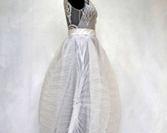Wedding dress, pleated wedding dress, pleated wedding gown,