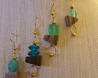 Wood and glass aqua blue-green earrings with gold ball bead accent, wire