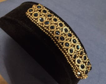 Vintage Blue and Gold Stretch Bracelet.