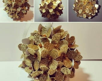 Gold glitter hydrangea kissing ball / pomander