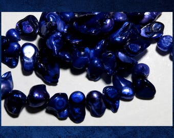 """Pearl, Indigo Purple - 16"""" strand of small double baroque freshwater pearl beads.  #PERL-325"""