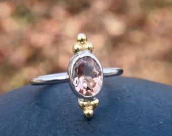 Pink tourmaline ring, gemstone ring , october birthstone ring , triple dots , gold ring , stacking ring , gift for her , wedding ring
