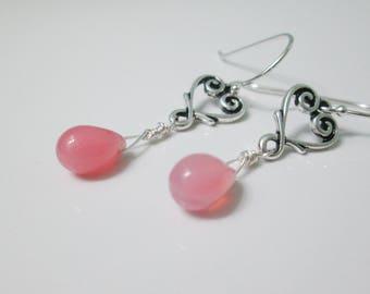 Pink Heart Earrings, Pink Czech Glass Earrings, Heart Dangle Earrings, Silver Heart Earrings, Valentine's Day Earrings, Love Earrings