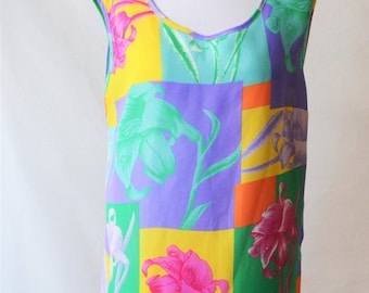 ClearanceSale45Off Vintage Sleeveless Top Colourful top Ladies blouse Size 12 top by Lyndella Co-ordinates
