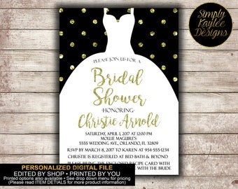 Black and Gold Polka Dot Bridal Shower Invitation