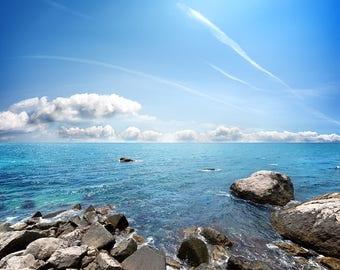 Sea Beach Backdrop - seaside, summer, stone, rock, wedding, sunny sky - Printed Fabric Photography Background W1269