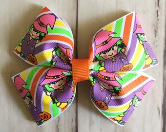Witch Halloween Bow | 4 inch witch print halloween bow, halloween hair clip, green, orange, pink witch hair bow, pumpkin hair bow, Fall bow