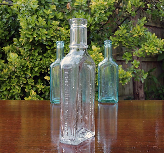 Antique Tonsiline For Sore Throat Apothecary Bottle Early 1900s Pharmacy Medicine