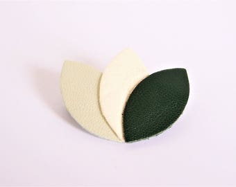 Brooch large pale green, white and dark green leather petals