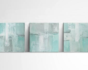 SALE 10%, Original  Abstract, Contemporary Wall Art, Modern Art, mint and gray, Boho Painting,turquoise abstract, Set of 3, white art