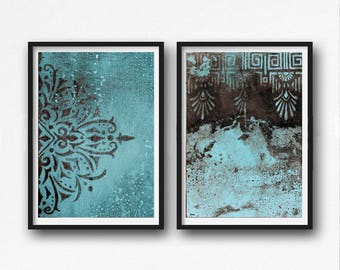Set of 2 , Print, contemporary art, ornament painting, rustic home decor, wall art abstract, digital image, sepia and light blue, brown