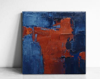 Original Painting, Modern Abstract Art Painting, Contemporary Art , Interior Art Decor, orange art, indigo and copper, industrial art, blue