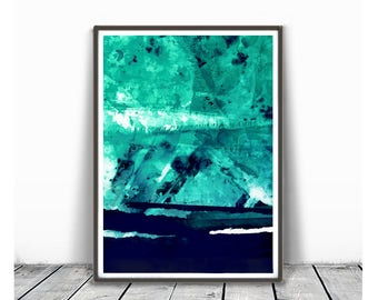 Printable Art, Art Poster, navy blue and teal, Wall Decor, teal and white, modern abstract, scandinavian art, vertical abstract, turqoise