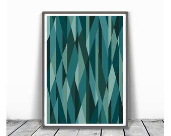 Printable Geometric Poster, Scandinavian Print, Nordic Poster, Modern Geometric Poster, Triangle Print,modern mid century, teal green mint