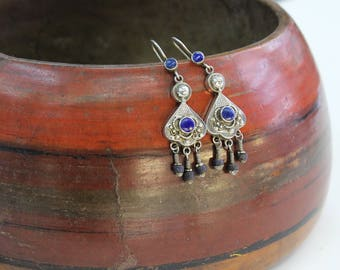 Turkmen 925 Sterling Silver Ethnic Tribal Earrings, Belly Dance Lapis Lazuli stones Earrings