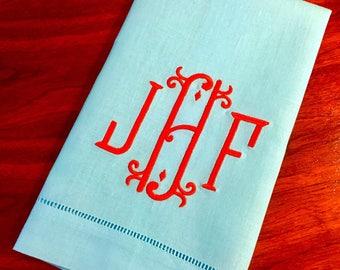 Aqua Linen Fancy Monogrammed Hand Towel