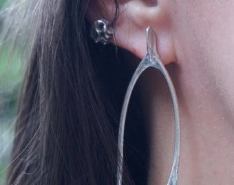 Rabbit wishbone earrings in sterling silver