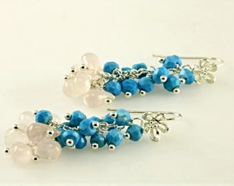 Sleeping Beauty Turquoise and Rose Quartz Cluster Earrings, Turquoise and Rose Quartz Sterling Silver Earrings, Blue Pink Gemstone Earrings