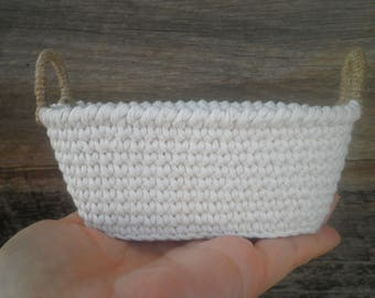 Small Oval Basket with Two Handles, Miniature Crochet Basket, Doll Basket, Office Storage, Cotton Basket, Shabby Chic Decor, Gift for women
