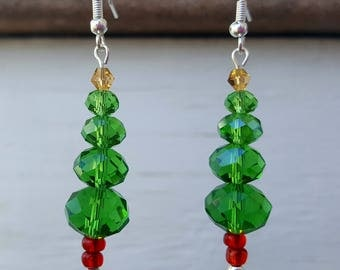 Christmas Earrings, Christmas Tree Earrings, Dangle Earrings, Drop Earrings, Crystal Beads Earrings, Come in Gift Box, Free Shipping