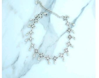 Cute Ankle Bracelet, Silvertone