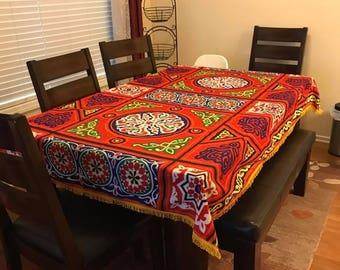 Table de Ramadan-Aïd chiffon-Khaymah, nappe d'égyptien traditionnel fait à la main, rouge