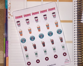 Dunkin Donuts & Starbucks Planner Stickers for use with Erin Condren Life Planner and other planners