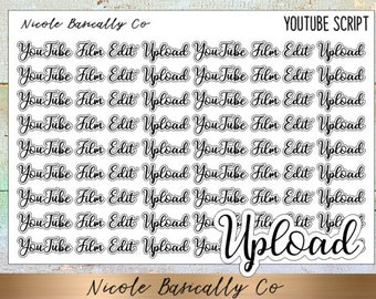 YouTube Film Edit Upload Script Planner Stickers