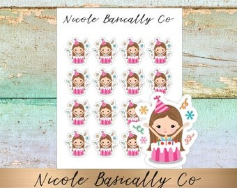Jade Dolls- Birthday- Cake- Character Planner Stickers