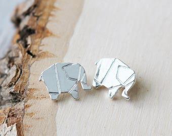 Set of 10, Silver Elephant, Origami Charm, Elephant Charms, Flat Charms, Flat Silver Charms, Silver Charms, Silver Animal Charms,