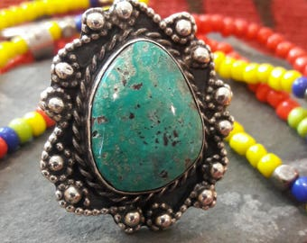 Huge Vintage SterlingTurquoise Navajo Ring
