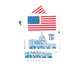 10 x US Flag UNused 13 cent Flag Over Capitol 1977 vintage postage stamps - Stars and Stripes - Scott 1623