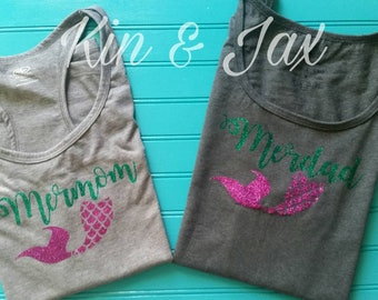 Mermom and Merdad shirt with mermaid tail.