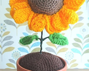 Sunflower, crochet sunflower,  home decor, handmade flower