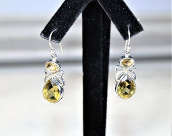 Lemon topaz earrings, drop earrings .925 Sterling silver earrings, dangle earrings