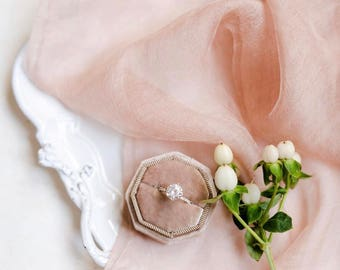 Velvet Ring Box Camel Octagon Handmade Wedding Vintage  Engagement Gift Bride