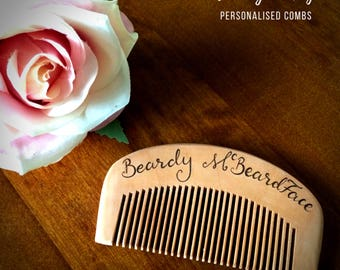 Personalised comb, custom beard comb, personalised beard comb, wooden comb, wood burned comb, beard grooming, hair comb, hair care moustache