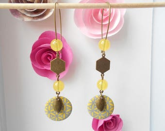 bronze sequin earrings yellow and gray