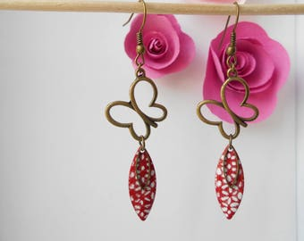 bronze sequin butterfly earrings red and white