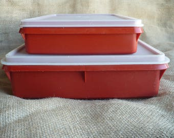 Tupperware Container Set, Vintage Red Paprika Tupperware Storage