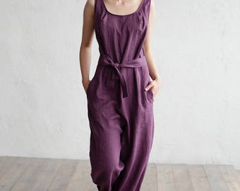 Linen jumpsuit. Loose fitted overall suit. Stone washed linen. Washed linen jumpsuit. Womens clothing.