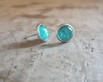 Small teall glitter studs 8mm on stainless surgical steel
