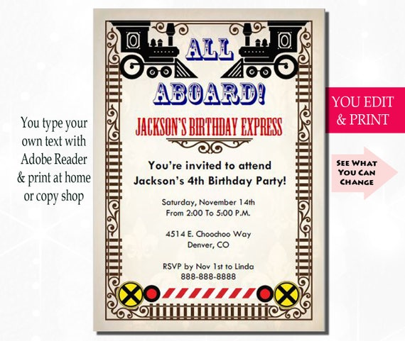 Train Birthday Invitation Train Party Invitation Train Invitation