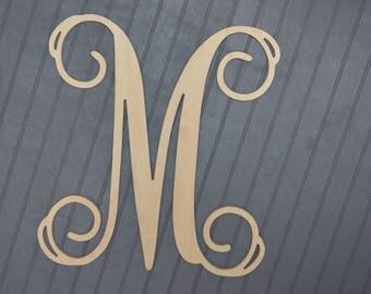 Wooden Letter, Wooden Monogram,Unfinished Letter, Script Letter, Door Hanger, Wall Hanging, Unfinished Wood Monogram
