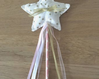 Star wand, fairy princess girl pink gold