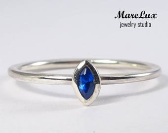 Sapphire Marquise Silver Ring, Synthetic Blue Sapphire Marquise Ring, September Birthstone Ring, Stacking Silver Marquise Cut Sapphire Ring