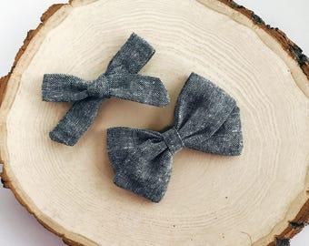 b l a c k linen bow, fabric bow, black bow, linen bow