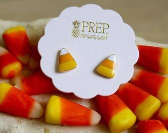 Halloween Earrings, Candy Corn, Candy Corn Earrings, Candy Corn Earring Studs, Trick or Treat Earrings, Halloween Jewelry, Orange Earrings