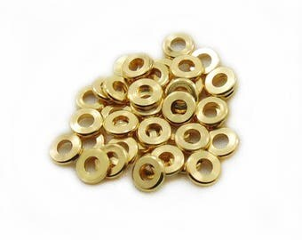 7mm Gold Color Beads, Gold Color Beads, 7mm Rondelle Beads, Spacer Beads, Jewelry Making, Craft Supplies